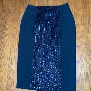 Worthington Women's Black Sequin Pencil Skirt Sz 4